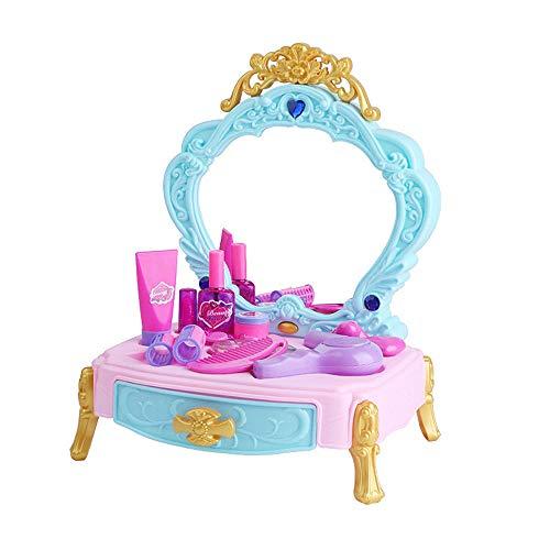GoodFaith Tocador de juguete, tocador, juguete para niños, juego de juguetes portátil, maleta, juego de rol, color azul