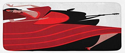 HARXISE Alfombras para Cocina Baño de Cocina Absorbente Alfombrilla,Español, Baile Flamenco Mujer Bailando Silueta del Guitarrista Hombre en el Fondo, Rojo bermellón Negro,para Dormitorio Baño