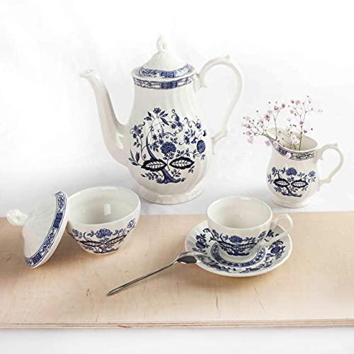 JUEGO DE CAFÉ/TÉ 27 PIEZAS. Porcelana Blanca decorada con motivos azules