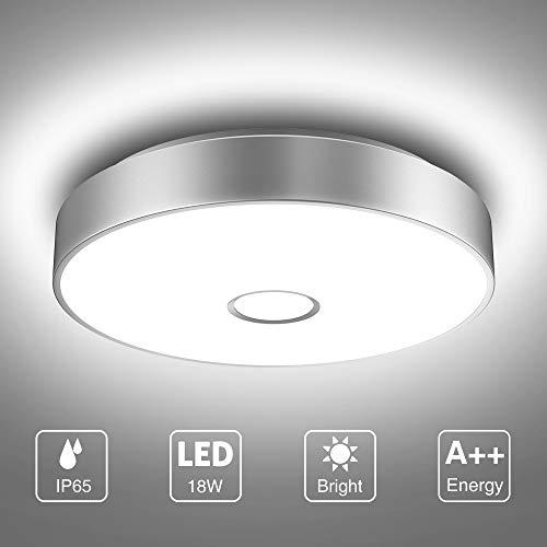 Onforu 18W LED Deckenleuchte Badezimmer, IP65 Wasserdicht Bad Deckenlampe, 1600lm Küchenlampe, 5000K Kaltweiß Badezimmerlampe, CRI über 90 Badleuchte Badlampe Lampe für Küche, Schlafzimmer, Wohnzimmer