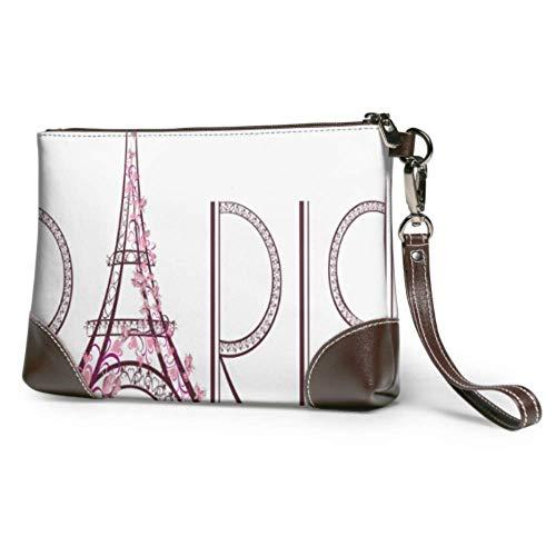 Ahdyr Embrague de cuero Suave Impermeable Mujer Pulsera de cuero Rosa Torre Eiffel con letras de París Cartera de mano de cuero con cremallera para mujeres niñas