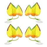 Filhome 4 hojas para cama de pescado con forma de hoja de apoyo para plantas artificiales, diseño de doble hoja con ventosa