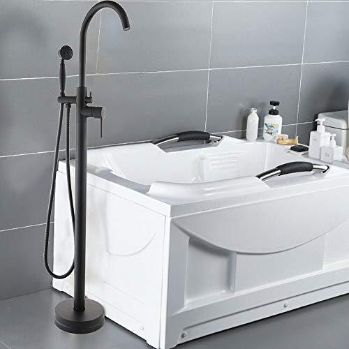 Armatur Zeitgenössisch Freistehende Badewanne Wannenmischbatterie Standarmatur Schwarz Messing Verchromt Wannenarmatur Stehend Handbrause Brause Wannen