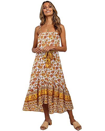 LANISEN Sundresses for Women Beach,Women's Summer Smocked Boho Spaghetti Strap Tube Top Dress Casual Flowy Beach Swing Party Midi Sundress Yellow S