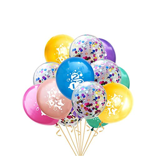 Oblique Unique® Konfetti Luftballon Set ABC 123 für Schuleinführung Schulanfang Einschulung Deko Ballons im Farbmix