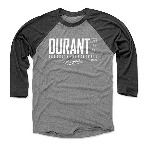 500 LEVEL Kevin Durant Tee Shirt (Baseball Tee, Large, Black/Heather Gray) - Brooklyn Raglan Tee - Kevin Durant Brooklyn Elite WHT
