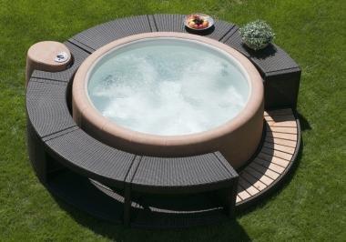 Marinoir Whirlpoolumrandung mocca für Softub 300 Resort & 220 Legend, Softub Resort 300 mocca Rattanumrandung