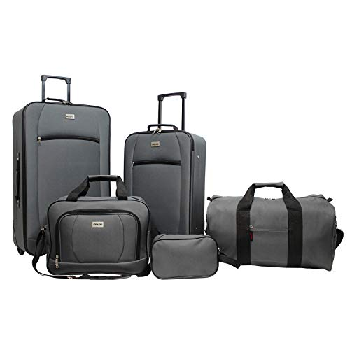 Dejuno Lightweight 5-Piece Rolling Luggage Set, Grey