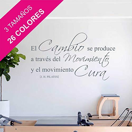 La Tienda de las Pegatinas® Pegatina de pared Frase Pilates, Decoración Casa, Gimnasio, Sticker, Vinilo Decorativo. (Mediano 119 x 67 cm, Negro)