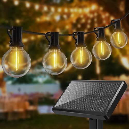 Kolpop Catena Luminosa Esterno Solare, 7.6M G40 Lampadine Solari Luci da Esterno Energia Solare&USB Ricaricabile 4 Modalità 12+1 LED Impermeabile Luce Decorative per Giardino Matrimonio Festa Pergole