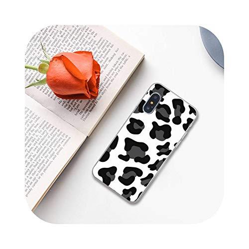 White Black Cow Symbol Pattern Print Black Phone Case for iPhone 11 12 Pro XS Max 8 7 6 6S Plus X 5S SE 2020 XR-a7-6Plus 6SPlus