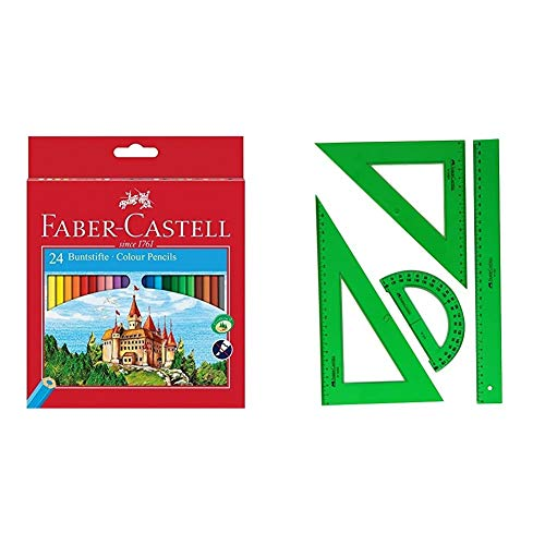 Faber-Castell Fighting Knights 111224 - Lápices de, color es en caja de cartón (24 unidades) + 65021 - Pack escolar con escuadra, cartabón, regla y semicírculo, color verde