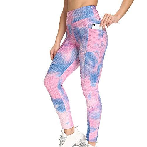 URIBAKY - Leggings para mujer de invierno, con bolsillo tiburón de burbujas, para ejercicio de levantamiento de cadera, transpirables, para deporte, fitness, jacquard, burbujas, casual y yoga morado S