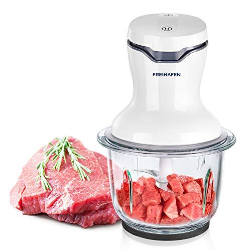 FREIHAFEN Zerkleinerer Universalzerkleinerer 500 W Elektrische Multizerkleinerer Zwiebelschneider Mixer mit 1L Glasbehälter, 4 Edelstahlmesser für Fleisch, Obst, Gemüse, Babynahrung, Weiß