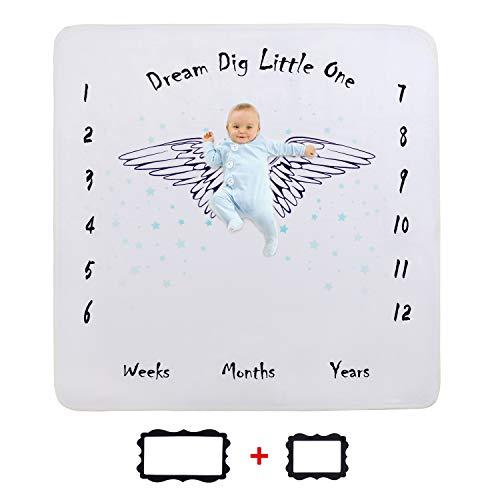 JMITHA Baby Monats Decke, Neugeborene oenbopo Baby Monatliche als Foto Hintergrund mit Meilenstein-Druckmuster (Engel's Flügel B) 100x100cm