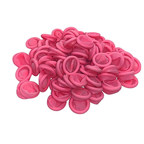 Disposable Finger Cots Gloves Latex Rubber Fingertips Plastic Protective Gloves Set for Men Women Kids Medium Medical Food Safe 200 Pcs(Pink)