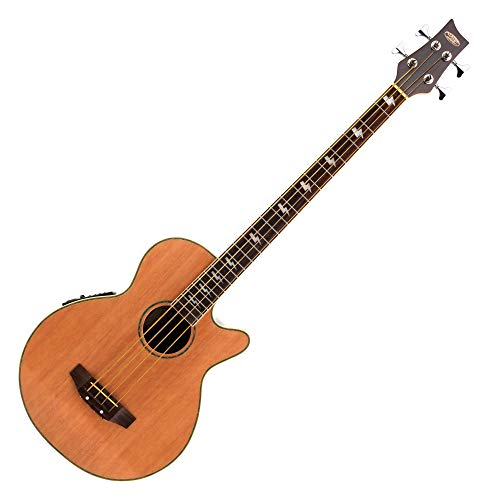 Classic Cantabile AB-40 Akustik Bass Natur (Bassgitarre mit Pickup/Tonabnehmer, 3-Band-Equalizer, aus Palisander und Fichte)