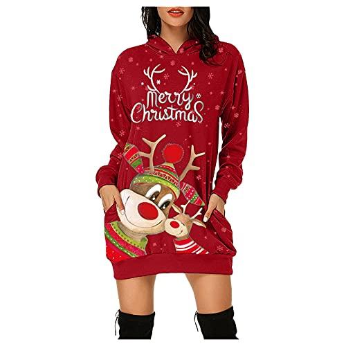 Robe Femme Robes de Soirée, Sweat à Capuche Femme Hoodie Casual de Robe A Manches Longues Robe Sweat Shirt Impression de Noël Automne Ample Sweat-Shirt avec Poche (05-Rouge, M)