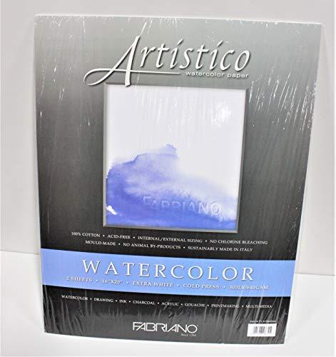 Fabriano Artistico 300 lb. Cold Press 2-Pack 16x20' - Extra White,16x20 in