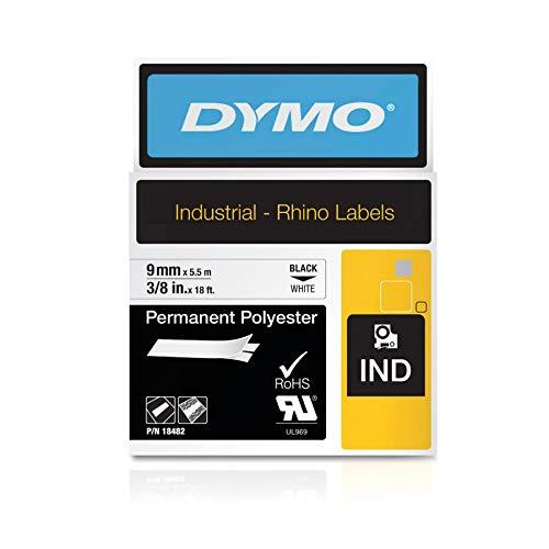 Dymo 18482 Rhino Polyester-Etiketten (für die Industrie, 9 mm x 3,5 m, Selbstklebend) schwarze Schrift auf weiß