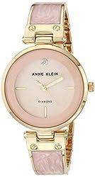 powerful Anne Klein AK / 2512LPGB Diamond Accent Ladies Watch Gold and Pink Marble Bracelet