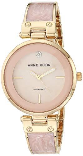 Anne Klein Women's AK/2512LPGB Diamond-Accented Gold-Tone and Blush Pink Marbleized Bangle Watch