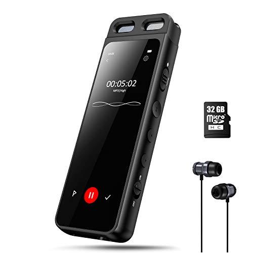 Gueray Registratore Vocale Portatile con Lettore MP3 Bluetooth 5,0 e 3,1 Pollici Schermo Include scheda TF da 32 GB Supporta parola d ordine riduzione del rumore 1536 Kbps La Registrazione Con un Clic
