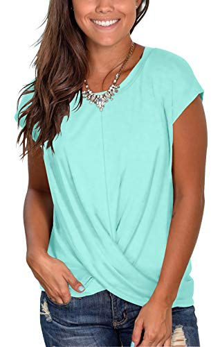 Women's Short Sleeve Loose Fitted Tees Twist Tie T Shirt Tunic Tops Lake Green M