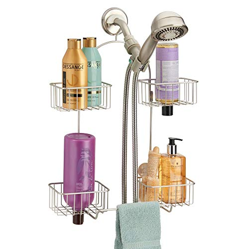 mDesign Metal Hanging Bath and Shower Caddy Organizer for Hand Held Shower Head and Hose  Storage for Shampoo Conditioner Hand Soap  4 Shelf Format  Satin