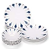 Melamine Dinnerware Set- Unbreakabe Dinnerware Set, Durable Material, For Outdoor and Indoor Use, BPA Free (12, White)