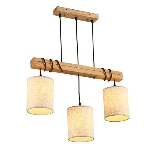 KMMK Candelabros para el hogar, iluminación novedosa, colgante de araña de madera circular y de metal, tres luces, lámpara de techo rústica industrial retro vintage, luz