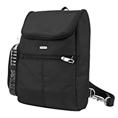 Wear it 2 ways – as a backpack or shoulder bag Main compartment has RFID blocking zippered pocket and tethered key clip with LED light Mesh expansion pocket holds a water bottle Smooth glide, removable, adjustable strap converts from bag from backpac...