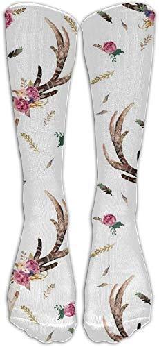 Flowers Boho Aztec Beauty Floral Calcetines de compresin unisex para mujeres Calcetines hasta la rodilla clsicos Calcetines largos deportivos