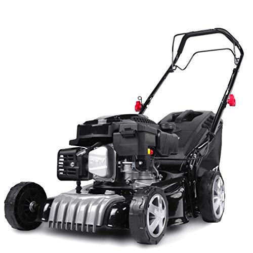 BRAST Tondeuse thermique traction arrière 41cm 144cc 4,1cv 2.800 trs min moteur de marque 4 temps 40l réglage central 25-75mm, capot en tôle en acier