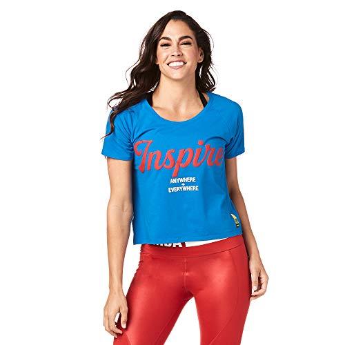 Zumba Camiseta Recortada para Mujer XX-Grande Azul Verdadero