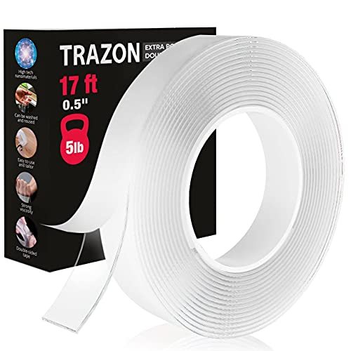 Double Sided Tape for Walls - Heavy Duty Mounting Tape - Strong Adhesive Tape Washable and Reusable - Wall Tape for Picture Photo Carpet Decoration - Mounting Tape Roll (0,5 Inch)