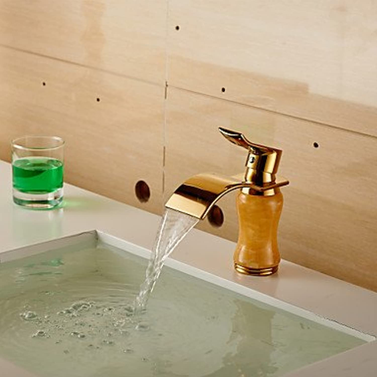 American Standard Centerset Single Handle One Hole in Ti-PVD Bathroom Sink Faucet,Yellow