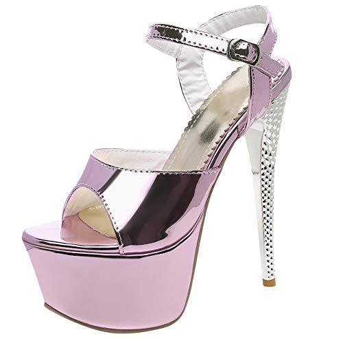 XIEWANG Donna Sandali High-Heel con Plateau Sexy Elegante (Viola,46)
