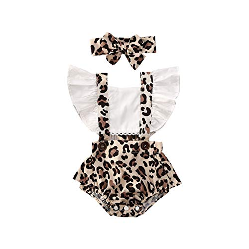 Dazzerake Juego completo de ropa de bebé de 2 piezas con estampado de leopardo, manga volante, sin respaldo, cuello cuadrado, con lazo, sin mangas, juego completo marrón 0- 6 Meses