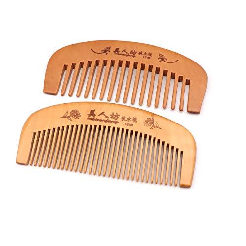 QiCheng&LYS Peine de madera, dentado ancho y dentado fino, apto para mujeres (12 cm)