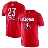 Nike Jordan Men's Lebron James #23 Name and Number All-Star Cotton Polyester Blend Shirt (Large, Red BV9192)