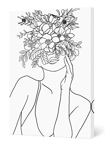 SUMGAR Cuadros en Lienzos Modernos Romantico Líneas Abstractos Minimalistas Blanco y Negro Mujer con Flores Decorativo Pared Pintura Sala de Dormitorios Baño 40 x 60 cm