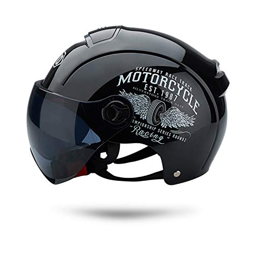 Galatée Cascos de Motocicleta Para Hombres y Mujeres, Ciclomotor Cascos Con Visera Reflectante.El cabezal anticolisión protege la seguridad vial de los usuarios(Negro)