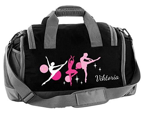 Mein Zwergenland Sporttasche Kinder mit Schuhfach und Nassfach Kindersporttasche 41L mit Namen personalisiert, Motiv Ballerina, in Schwarz
