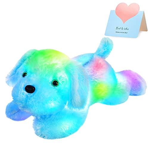 WEWILL Light up Puppy Stuffed Animal Creative Night Light Lovely LED Dog Glow Soft Plush Toy Gifts for Kids on Christmas Birthday Valentines Festivals, 18-Inch, Blue