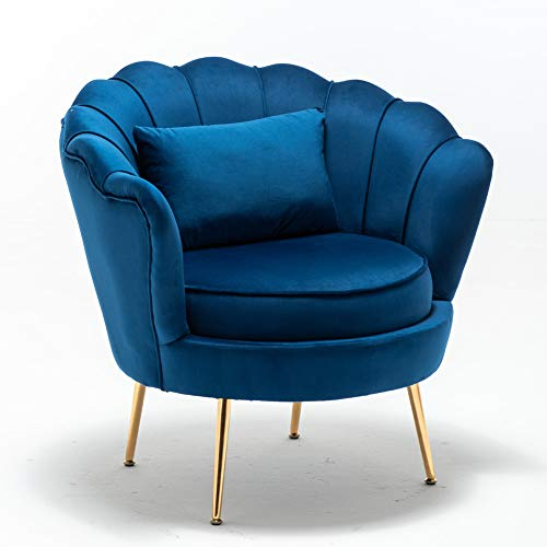 Mantieqingway Single Lounge Chairs Arm Chair Living Room Velvet Tub Armchairs with Small Pillow Metal Leg Armrests Sofa Chair (Blue)