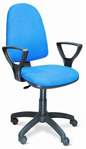 Europrimo Poltrona Sedia da Ufficio Girevole per scrivania con braccioli Tessuto Cotone Blu