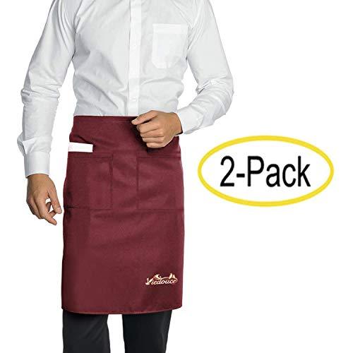 Viedouce 2 Paquetes Delantales,Cintura Corta Delantal Impermeable con 2 Bolsillos para Restaurante Chef Camarero Bartender Mitad,Delantale de Cocina para Hombres Mujeres (Rojo)