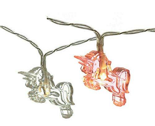 Einhorn-Lichterkette, 10 x rosa & 10 x klare LED-Lichterkette für Mädchen, Kinderzimmer, Batterie, Party, Geschenk, Heimspielzeug