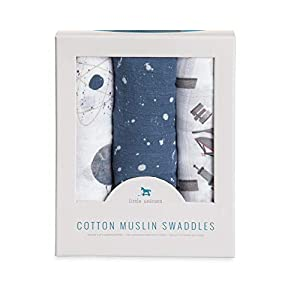 Little Unicorn Cotton Muslin Swaddle Blankets (Set of 3) – Ground Control, Blue, Brown, Black